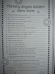 Nursery Rhyme Baby Shower Game