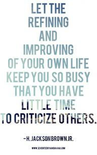 Improving Our Own Life...