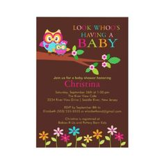 Owl Baby Shower Invitations by celebrateitinvites
