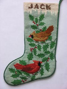 Cardinals in holly branches stocking for my husband