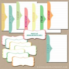 free fun journaling cards AND labels to match