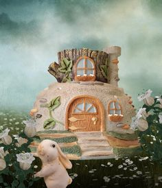 Adobe Fairy House in the fairy garden.