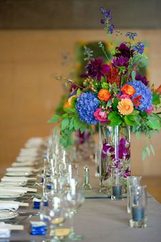 Centerpieces. Use contrasting colors in your centerpiece to really make it pop.