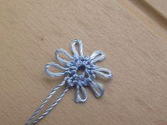 Mavi çiçekli yüzük,iğne oyası takı yapımı