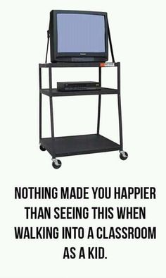 Nothing made you happier then seeing this when you walked into your classroom when you were a kid. Didn't even matter what you were watching, you weren't doing work!