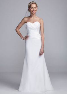 Strapless Satin Sheath Gown with Side Drape - David's Bridal