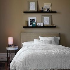shelves above the bed
