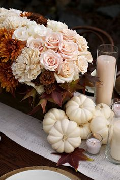 Love the petal pink accent in this fall table setting