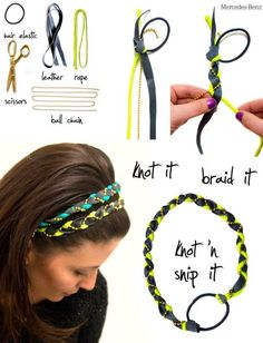 do it yourself headband :: I've made these before but never thought to use a hair tie! The couple that I've made using just strips of t-shirt always stretch out & end up falling off my head.