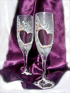 Hand painted wedding champagne glasses elegant by PureBeautyArt, $48.00