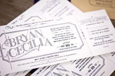 Ticket Wedding Invites. #weddingmonth #typography