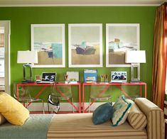 Green, blue, and coral for living room
