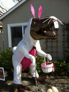 They have a lawn dinosaur, and thru dress him up for special occasions.