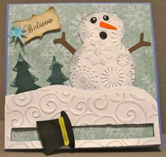 """The Magicless Hat Spinner """"Believe"""" Christmas Card...with a sweet snowman!  By Guild Master Crystal: Sisters of the Crafters Guild."""