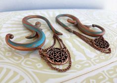 Steampunk Gauged Earrings Copper Patina