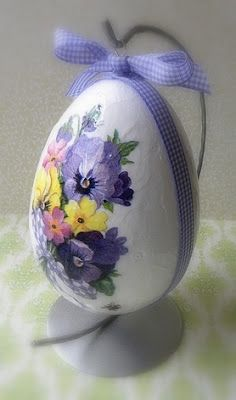 decoupaged egg decoration with pansies...