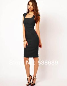 celebrities formal business fashion | Women Square Neck limming Backless Business Bodycon formal Celeb ZIP ...