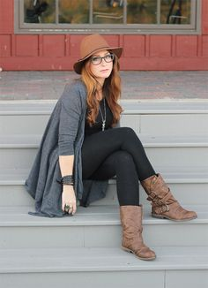 Melissa of Bubby and Bean wearing Blowfish's Alms Boots in Whiskey Faux Leather