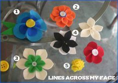 """""""Lines Across"""": Felt Flowers (hair clips and pins)"""