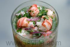 Langostino Ceviche Recipe Appetizers with meat, purple onion, lime, serrano peppers, cilantro, olive oil, garlic cloves, salt, corn, tostones