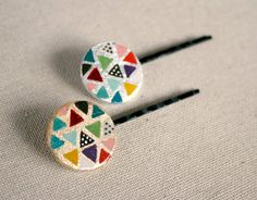 Geometric hand painted bobby pins... in polymer clay?