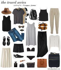 Travel style - skinny jeans, crop top, long black skirt, cardigan, sandals, hat, sunglasses, backpack, shorts, striped top, swimwear (weekend)