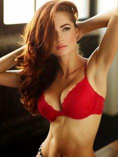 Hot brunette wearing red bra