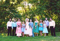 many colored bridesmaids/groomsmen :)
