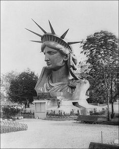 Statue of Liberty Head in a Paris Park 1883   The head of the Statue of Liberty is seen on display in a park in Paris, France, prior to completion. Frederic Auguste Bartholdis master work was a gift to the United States, which is displayed as the center piece of New York Harbor.