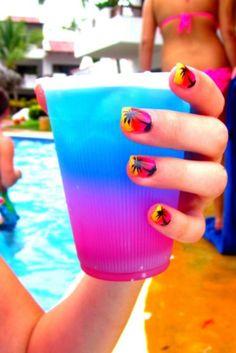 tropical vacation nails