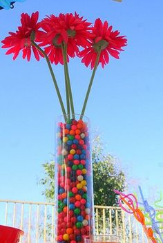 Add candy to a vase for a colorful centerpiece!