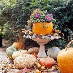 Great idea for a fall use of a bird bath.