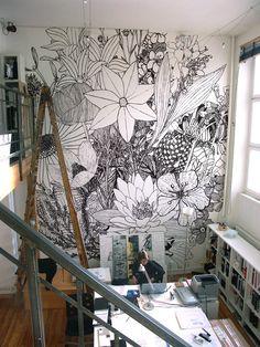 studio, wall art, offic, wall murals, doodl, paint, hous, flower, workspac