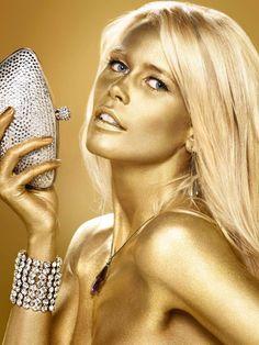 Claudia Schiffer : Luxurious Life Magazine ~ gold rush, claudia schiffer, golden silver, golden art, golden style, golden girl, beauti, celebr, glitter