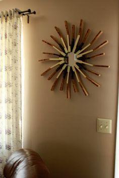piano key art: sunburst mirror: uses for old piano keys!