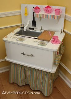 Upcycling: Sewing Cabinet Repurposed into a Child's Play Kitchen   Eve of Reduction