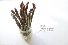for extended freshness, store asparagus like fresh cut flowers