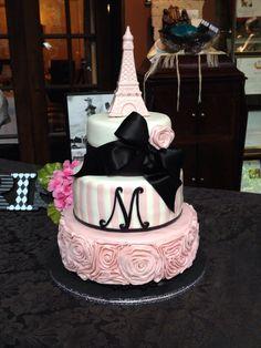 Paris Theme Cake. Vanilla with Strawberry Buttercream. Covered in fondant.