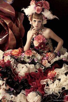 Bridal Black - black wedding dress; black wedding gown; black bridal gown; black floral print wedding dress