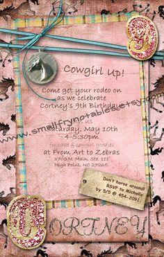 Rhinestone Cowgirl Western Horse Party Custom by smallfrynotables, $28.00