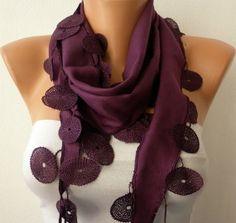 Purple Scarf    Pashmina Scarf   Headband Necklace by fatwoman, $13.50