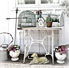 birdhouses, garden benches, birdcages, patio, deck, vintage sewing machines, birds, shabby vintage, parti