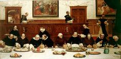 'Friday', Walter Dendy Sadler, 1882. Here Sadler shows Dominican monks entertaining two Franciscans with a meal. http://www.liverpoolmuseums.org.uk/walker/collections/19c/sadler.aspx