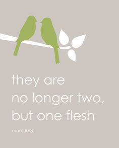 """""""But at the beginning of creation God 'made them male and female.' 'For this reason a man will leave his father and mother and be united to his wife,[b] 8 and the two will become one flesh.' So they are no longer two, but one flesh. Therefore what God has joined together, let no one separate.""""Mark 10:6-9"""