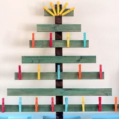 Dye Clothes Pins and make a Christmas Card Holder :)