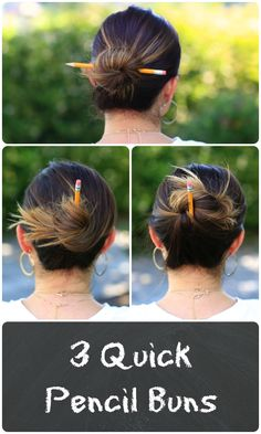 Pencil Buns | Back-to-School Hairstyles#cutegirlshairstyles #hairstyle #hairstyles #bun #pencilbun #backtoschoolhairstyles