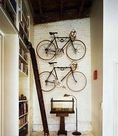 Bikes on wall.