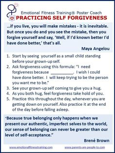 How to practice self-forgiveness, one of EFTI's Twelve Easy Emotional Fitness Exercises.
