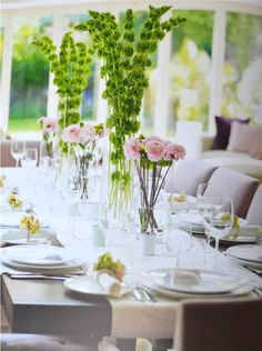 table settings, ireland, mothers day, centerpiec, dinner parties, bells, floral arrangements, light spring, green flowers