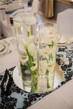 white lily centrepieces
